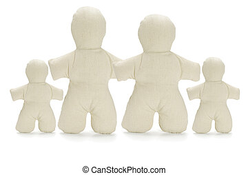 Family of faceless dummy soft dolls on white background