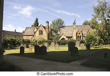 Vicarage near the church and graveyard in Winchcombe