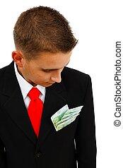 Man looking at banknotes