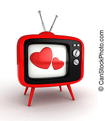Love TV Show - 3D Illustration of a Retro Television Set...