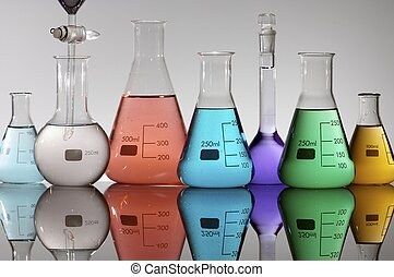laboratory equipment - forefront of a laboratory flasks...