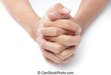 orando, dobrado, mãos