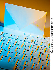 Computer keyboard and envelope E-mail - The keyboard of a...