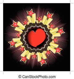 heart background star explosion