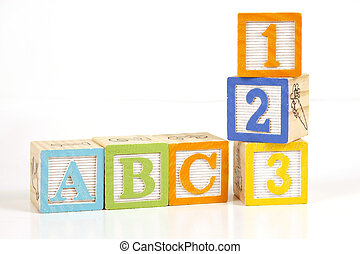 ABC 123 - Childrens colorful blocks say abc and 123