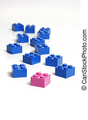 Out In Front - Pink block in front of many blue to indicate...