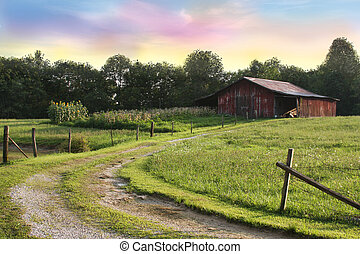 Red Barn Cotton Candy Sky - Country landscape with a red...