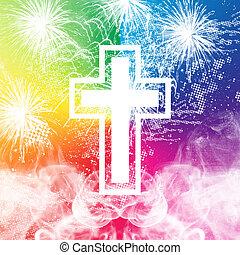 Fireworks Cross - Cross with colorful background distressed...