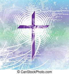 Purple Smoking Cross - Purple christian cross with white...
