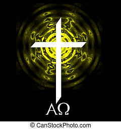 Alpha Omega Cross - White cross on black background with...