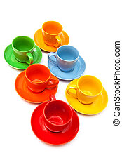 ceramics coffee cups on a white background