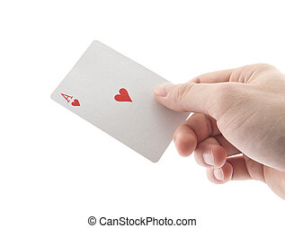 Hand holding ace of hearts  - Hand holding ace of hearts
