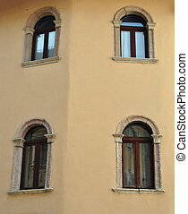 historic building with symmetrical windows