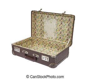 Old suitcase with clipping path