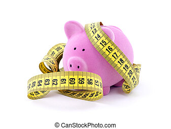 Piggy bank with measure tape