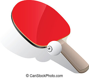 Ping-pong paddle and ball - Ping-pong paddle with white ball...