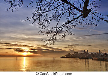 Bodensee (Lake Constance) with Schlosskirche (church) of...