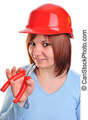 young woman holds a plier in her hand
