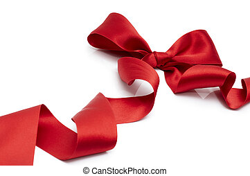 red ribbon - red silk ribbon on the white background
