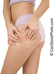 woman controls the cellulite on the thighs