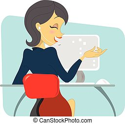 Dark haired women professional on the phone - A dark haired...