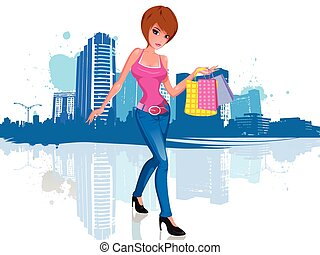 Young woman with shopping bag in city