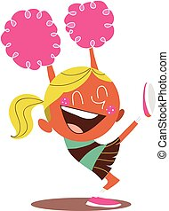 Yound blond illustration of a smiling cheerleader cheering -...