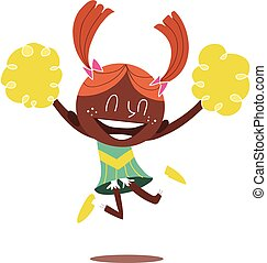 Young illustration of a black smiling cheerleader jumping and cheering with two ponytails. Looks excited.