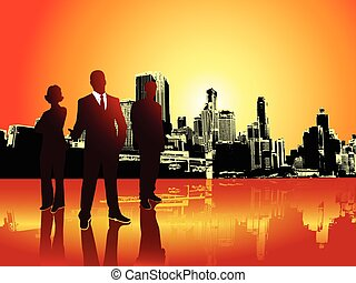 Corporate or business team with urban background