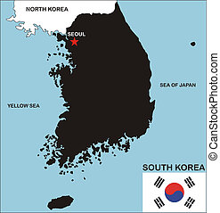 south korea map - political map of south korea country with...