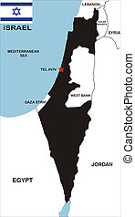 israel map - political map of israel country with neighbors...