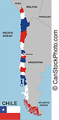 chile map - political map of chile country with neighbors...