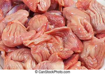 raw chicken gizzard - Fresh and raw chicken gizzard close up...