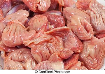 raw chicken gizzard - Fresh and raw chicken gizzard close up...