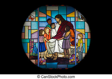 Church Window - Jesus with children in stained glass design