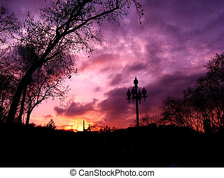 Purple sunset in Barcelona