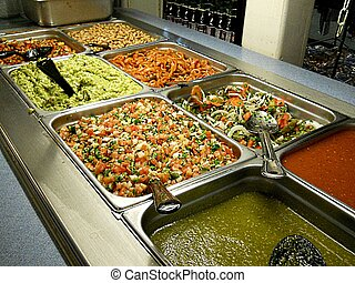 Salad Bar - Inserts of dips and spreads for Mexican...