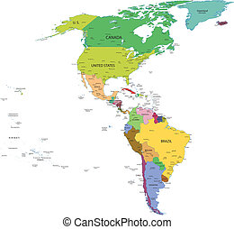 Map of south and north america with countries, capitals and...