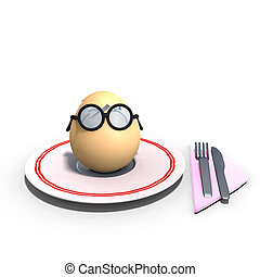 cute and funny toon egg served on a dish as a meal. 3D rendering with clipping path and shadow over white