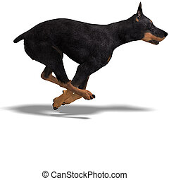 Black Doberman Dog. 3D rendering with clipping path and...