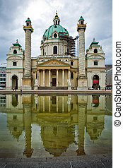 Karlskirche, Vienna - The view of Karlskirche under...