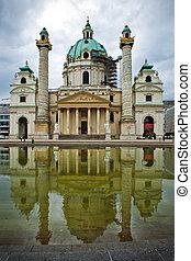 Karlskirche, Vienna - The view of Karlskirche under...
