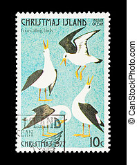 four calling birds - Part of a set of 12 mail stamp printed...