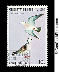 two turtle doves - Part of a set of 12 mail stamp printed on...