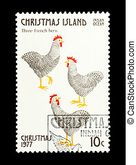 three french hens - Part of a set of 12 mail stamp printed...