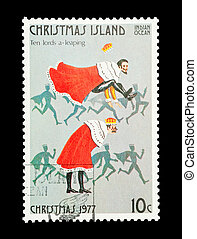 ten lords leaping - Part of a set of 12 mail stamp printed...