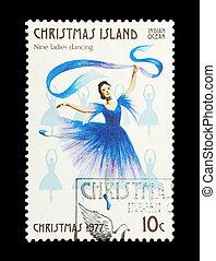 nine ladies dancing - Part of a set of 12 mail stamp printed...
