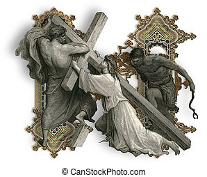 Letter N - Victorian letter N with Jesus Christ, enfeebled...