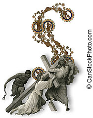 Letter S. - Victorian letter S with Jesus Christ, enfeebled...