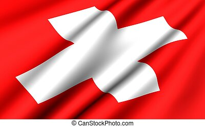 Flag of Switzerland. Close up. Front view.